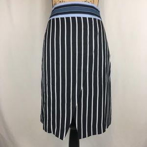 LOFT Striped Faux Wrap Blk/Blue/Wht Skirt Sz 12P